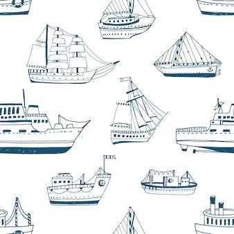 Nahtloses muster mit gekritzelschiffen, yachten, booten, segelboot, segelboot, seeschiff.