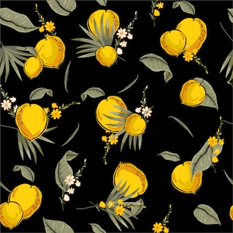 Nahtloses muster mit gelbem frischem tropischem nahtlosem muster des sommers mit orange illustrator des sommers im vektordesign für mode, gewebe, netz, tapete und alle drucke