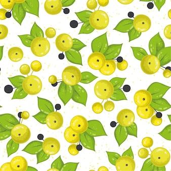 Nahtloses muster mit gelben runden blüten und grünen blättern