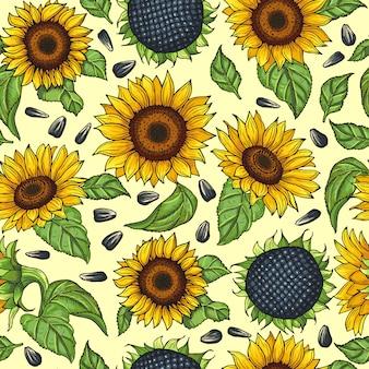 Nahtloses muster mit gelben sonnenblumen. vektor-illustration