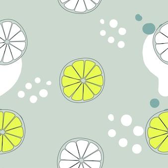 Nahtloses muster mit gelben und weißen zitronen und punkten auf grauem hintergrund. abstrakte vektorillustration