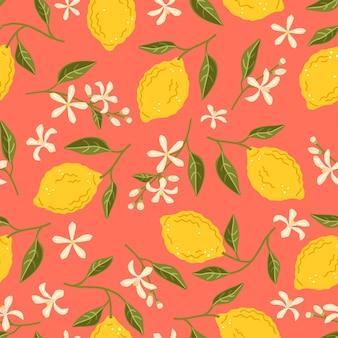 Nahtloses muster mit gelben zitronen. reife früchte, blüten und blätter der zitrone. blumenvektorhintergrund