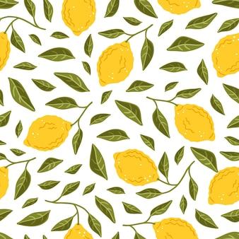 Nahtloses muster mit gelben zitronen. reife früchte und zitronenblätter. blumenvektorhintergrund