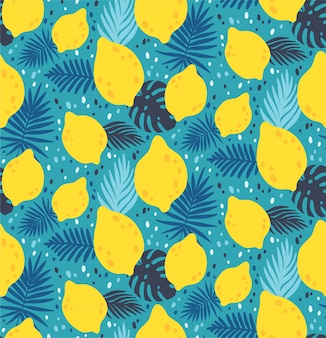 Nahtloses muster mit gelber zitronenfrucht und -blättern