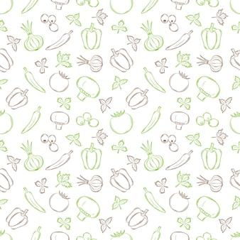 Nahtloses muster mit gemüse in einem linearen, handgezeichneten stil. sommergemüse.