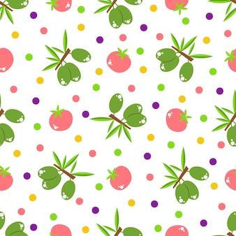 Nahtloses muster mit gemüse und früchten. helles design im flachen stil mit vitaminen und mineralien. frisches bio-lebensmittel für einen gesunden lebensstil. vektor