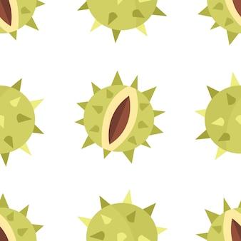 Nahtloses muster mit geschälten kastanien im cartoon-stil auf weißem hintergrund vektor-illustration