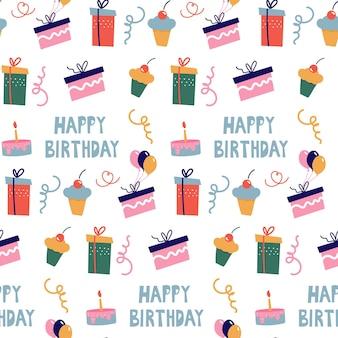 Nahtloses muster mit geschenkboxen und cupcakes im stil von doodles. herzlichen glückwunsch zum geburtstag. vektor