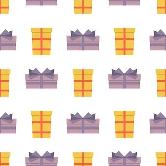 Nahtloses muster mit geschenkboxen. vektor-illustration.