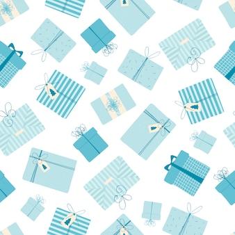 Nahtloses muster mit geschenken des weihnachten und des neuen jahres.