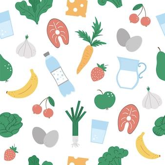 Nahtloses muster mit gesundem essen und trinken. gemüse, milchprodukte, obst, beeren, fisch.