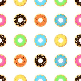 Nahtloses muster mit glasierten donuts. rosa farben.