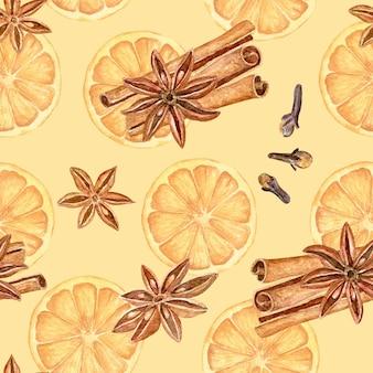 Nahtloses muster mit glühweinzutaten aus aquarell - orangen, anis, nelken und zimtstangen.