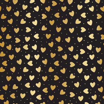 Nahtloses muster mit goldenen herzen und punkten auf schwarzem hintergrund