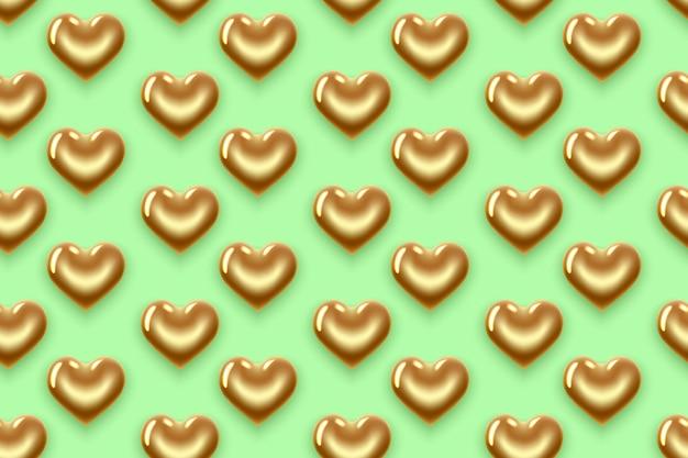 Nahtloses muster mit goldenen und grünen herzen. zum valentinstag
