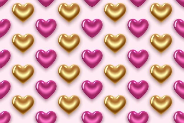 Nahtloses muster mit goldenen und lila herzen. zum valentinstag