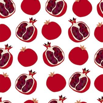 Nahtloses muster mit granatapfel rot geschnittener granatapfel mit körnern lagervektorillustration