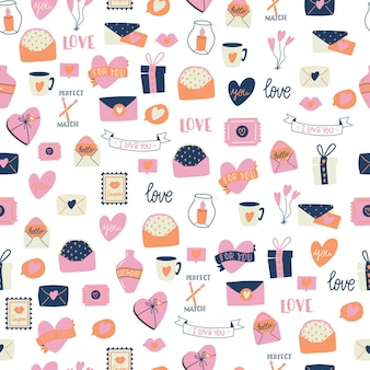 Nahtloses muster mit großer sammlung von liebesobjekten und symbolen für glücklichen valentinstag. bunte flache illustration.