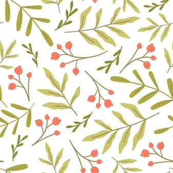 Nahtloses muster mit grün und roten beeren. einfaches wiederholungsdesign mit laub. vektor-illustration.