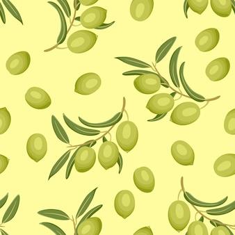 Nahtloses muster mit grünen oliven.