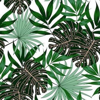 Nahtloses muster mit grünen tropischen pflanzen