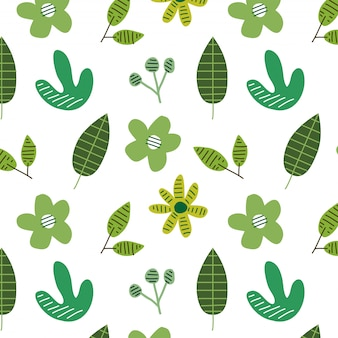 Nahtloses muster mit grünpflanzen