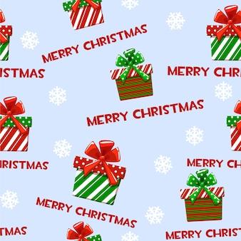 Nahtloses muster mit grünroten geschenken der karikaturweihnachten tapete für oder dekoration