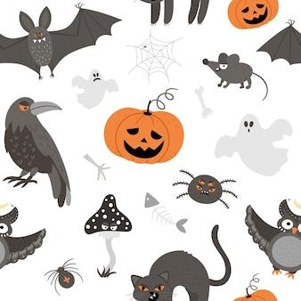 Nahtloses muster mit gruseligen kreaturen des vektors. digitales papier mit halloween-figuren. süßer herbst allerheiligen hintergrund mit fledermaus, kürbis, schwarzer katze, eule, kröte, geist für kinder
