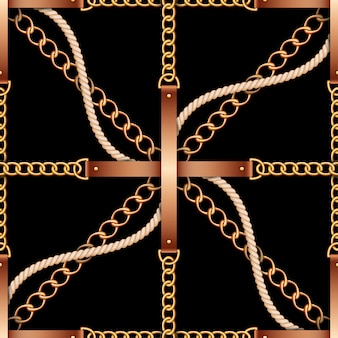 Nahtloses muster mit gurten, ketten und seil auf schwarzem hintergrund