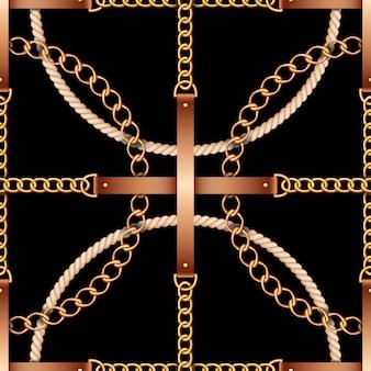 Nahtloses muster mit gurten, ketten und seil auf schwarzem
