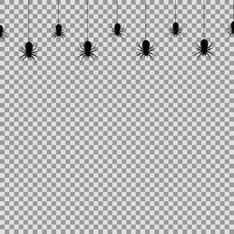 Nahtloses muster mit hängenden spinnen zur dekoration und abdeckung auf dem transparenten hintergrund. vektor.