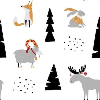 Nahtloses muster mit häschen, fuchs, ziege, elchen und bäumen.