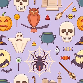 Nahtloses muster mit halloween-elementen.
