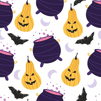 Nahtloses muster mit halloween-elementen