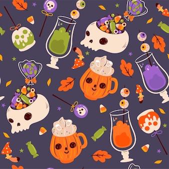 Nahtloses muster mit halloween-essen