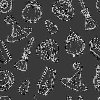Nahtloses muster mit halloween-ikonen. pumpkin jack, hexenhut, besen, hut, süßigkeiten, süßigkeitswurzeln, sarg, topf mit trank im sketch-stil.