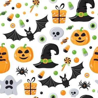 Nahtloses muster mit halloween-thema