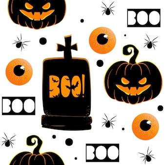 Nahtloses muster mit hand gezeichnetem gekritzelhalloweens-element. halloween-thema.