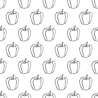 Nahtloses muster mit hand gezeichnetem gemüseelementpfeffer. vegetarische tapete. für designverpackungen, textilien, hintergrund, designpostkarten und poster.