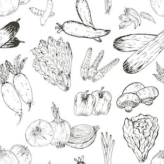 Nahtloses muster mit hand gezeichnetem gemüsehintergrund. organische kräuter und gewürze, gesunde lebensmittelzeichnungsmuster-vektorillustration.
