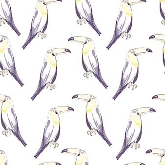 Nahtloses muster mit hand gezeichnetem tukan auf weiß