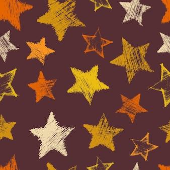 Nahtloses muster mit hand gezeichneten blauen sternen auf blauem hintergrund. abstrakte grunge-textur. vektor-illustration