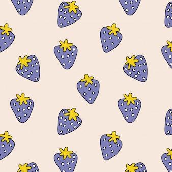 Nahtloses muster mit hand gezeichneten erdbeeren