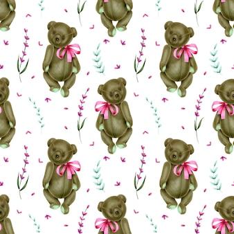 Nahtloses muster mit hand gezeichneten plüschbären und lavendel