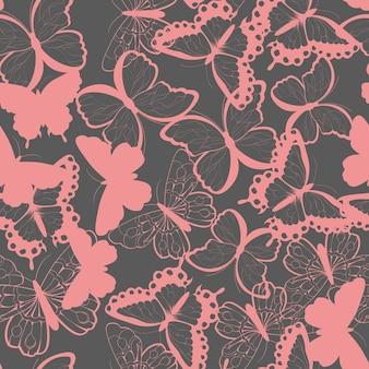 Nahtloses muster mit hand gezeichneten schattenbildschmetterlingen, -rosa und -grau