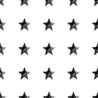 Nahtloses muster mit hand gezeichneten schwarzen sternen. abstrakte grunge-textur. vektor-illustration