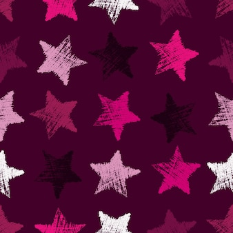 Nahtloses muster mit hand gezeichneten sternen auf purpurrotem hintergrund. abstrakte grunge-textur. vektor-illustration