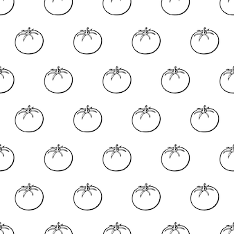 Nahtloses muster mit hand gezeichneter gemüseelementtomate. vegetarische tapete. für designverpackungen, textilien, hintergrund, designpostkarten und poster.
