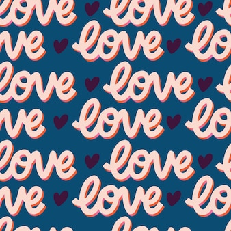 Nahtloses muster mit handbeschrifteter nachrichtenliebe für glücklichen valentinstag. bunte flache illustration.