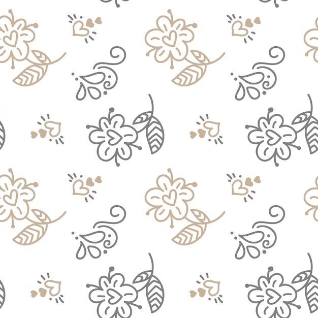 Nahtloses muster mit handgemalten blättern in der skandinavischen art auf weiß